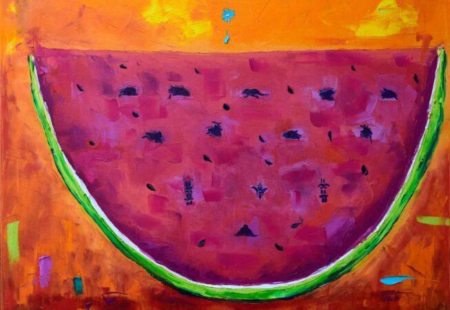 """Watermelon Codex. Oil on canvas. 24""""X30"""". Available."""