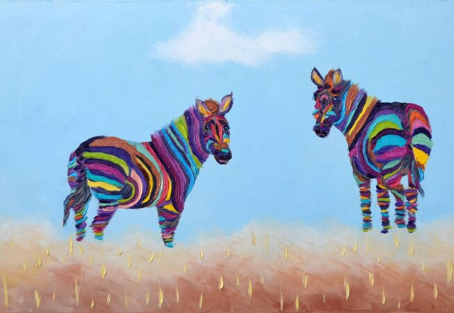 "Two Zebras. Oil on Canvas. 10""X20"". Available"