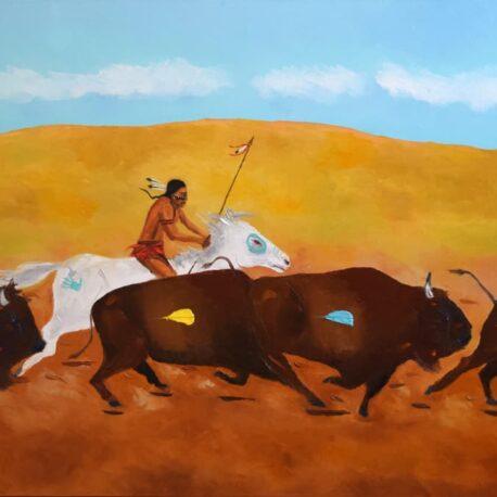 "The Plains Hunter. Oil. 24""X48"""