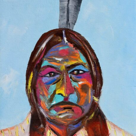 """Chief Sitting Bull. Oil. 12""""X24"""". Available."""